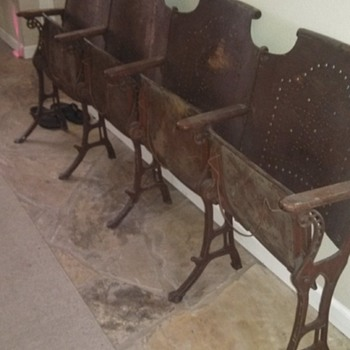 Antique Folding Cast Iron CHURCH Chairs Wood row of 4 Vintage