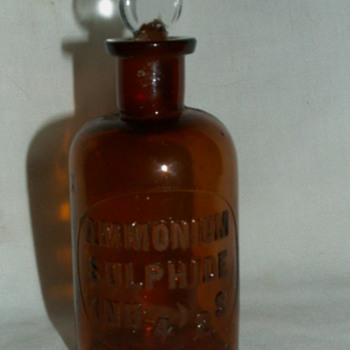 Antique Ammonium Sulfide (NH4)2S - Brown Glass Bottle & Glass Stopper