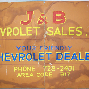 VERY OLD Chevrolet cardboard sign