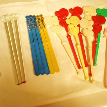 McDonalds 1970's Cocaine stirrers!  Pan Am, Harrahs Show Girls, Hand blown glass,  Mr. Bartender, and Musical bottle from 1950'