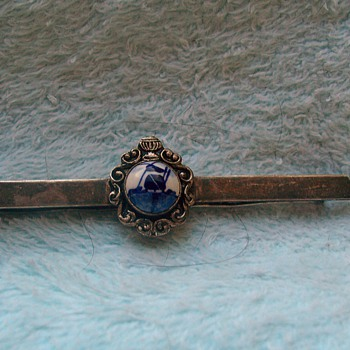 vintage mens tie bar with mystery mark on back