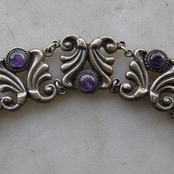 Amethyst and sterling Mexican bracelet