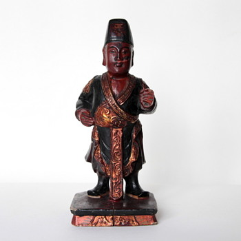 Chinese Antique Hand-Carved wood filigree figure sculpture - Asian