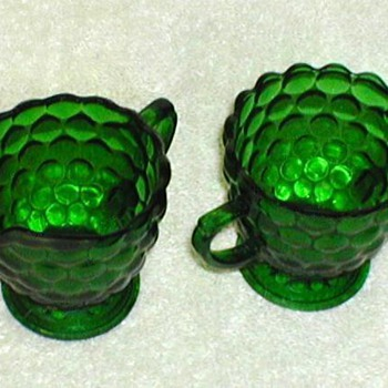 Green Glass Bubble Pattern Creamer & Sugar Bowl  - Glassware