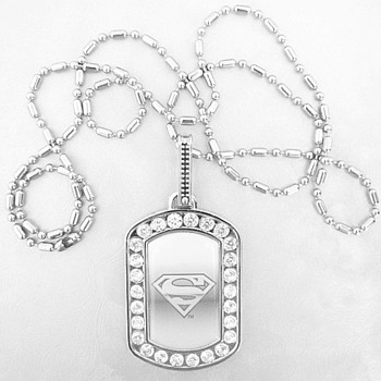 Stainless Superman Pendant Marked TM&DC Comics, Different - Costume Jewelry