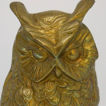 Horned Owl (Bubo virginianus), Brass Cast, Circa Mid 20 Century - Animals