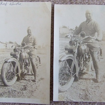 Photographs of man on Harley- Davidson c. 1930s