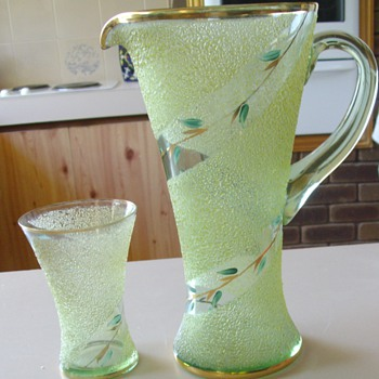 Uranium Glass Pitcher and Glasses - Glassware
