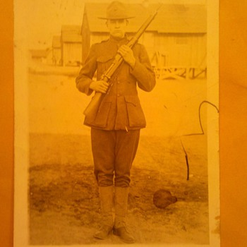 Pre WWI USMC Marine Corps RPPC in Field Greens uniform - Military and Wartime