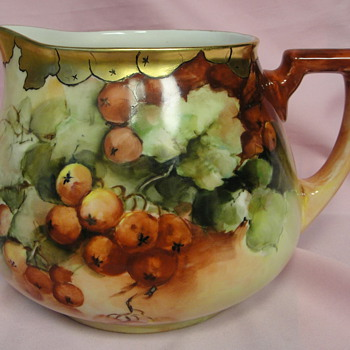 VINTAGE LIMOGES WG & CO. HAND PAINTED CIDER PITCHER  - China and Dinnerware