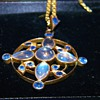 Antique Victorian Ceylon Sapphire Moonstone 12k Lavaliere Necklace