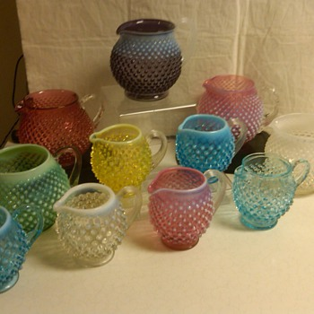 amazing set of fenton hobnail pitchers / jugs all colors