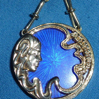 Blue enamel 14k gold cameo (chain added later) - Fine Jewelry