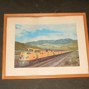 Vintage Framed Print of Union Pacific 987 Passenger Train