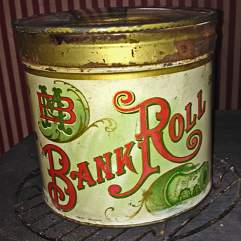 5 cent bank roll tobacco tin - Advertising