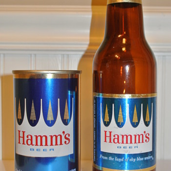 "Vintage 1960's Hamm's ""Pine Tree"" Steel Flat Top Beer Can and Bottle - Breweriana"