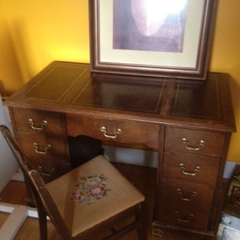 Leather Inlay Desk and Needlepoint Chair