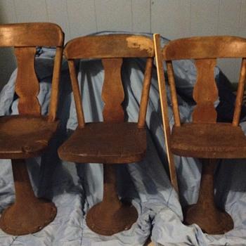Three graduated size school chairs...G.W.Shattuck....