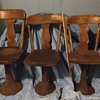 Three graduated size school chairs...G.W.Shattuck....