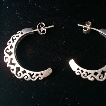 Pierced Half-Creole Sterling Earrings Flea Market Find 4,00 Euro ($4.36)