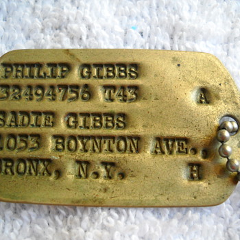 DAD'S OLD ARMY DOG TAGS - Military and Wartime