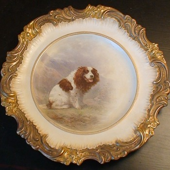 Very Rare Royal Doulton Burslem Antique Hand-Painted Dog Plate By Henry Mitchell