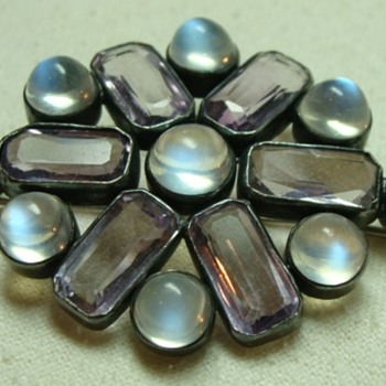 1930's Moonstone and Amethyst Brooch - Fine Jewelry