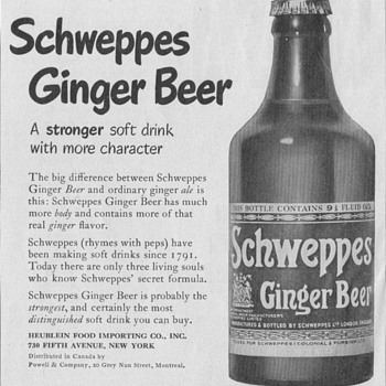 1950 Schweppes Ginger Beer Advertisement - Advertising