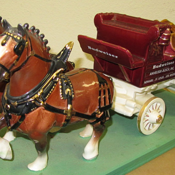 Budweiser Clydesdales Double Hitch with Wagon - ceramic - Breweriana
