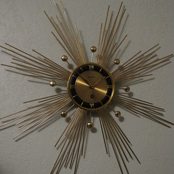 Mid Century Atomic Sun/Starburst Wall clock by Forestville