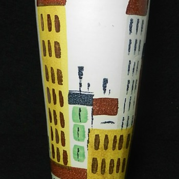 "10"" Bitossi for Raymor ""Cityscape"" Vase - Art Pottery"