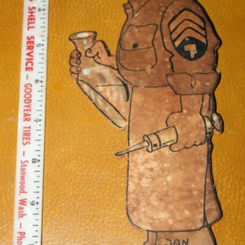 1945 Army Medic figure on plywood