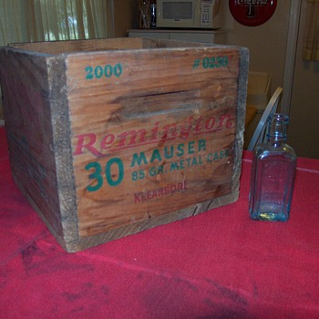 Wooden Remington Ammo Box and Remington UMC Oil Bottle