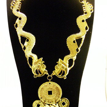 Vintage Kenneth Jay Lane Double Dragon Coin Necklace