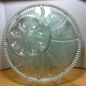 "12.78"" Indiana Glass Pebble Leaf Deviled Egg and Relish Tray Dish Clear Glass"