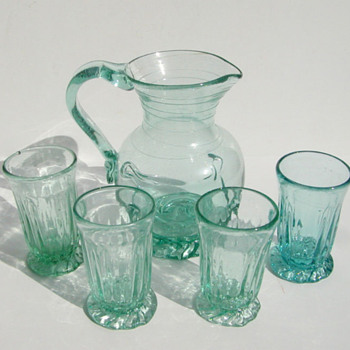 jersey green lilypad pitcher and glasses - Glassware