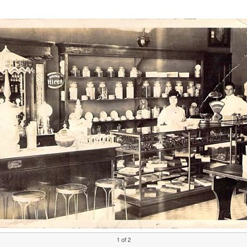Early Soda fountain postcard with Coca Cola cutout