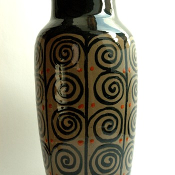 huge french art deco pottery vase by LEON ELCHINGER (1871-1942) - Art Deco