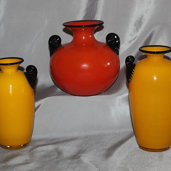 Claw Handled Vases - Art Glass