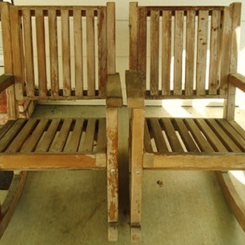 Update massive old growth redwood rocking chairs!  one finished, Obama gave bench to China