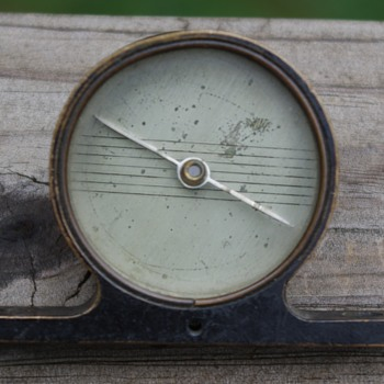 """COMPASS--""""mantel clock"""" shaped brass compass--what is it from????"""