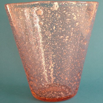 Pink Art Glass Vase with Silver Mica Inclusions - Art Glass