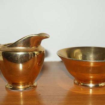 Vintage 1970's Arabia Finish Creamer and Sugar Bowl