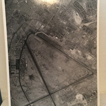 Military WWII Grayscale Picture of Airbase
