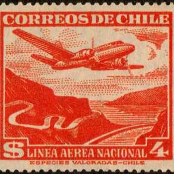 "1954 - Chile ""National Air Mail"" Postage Stamp - Stamps"