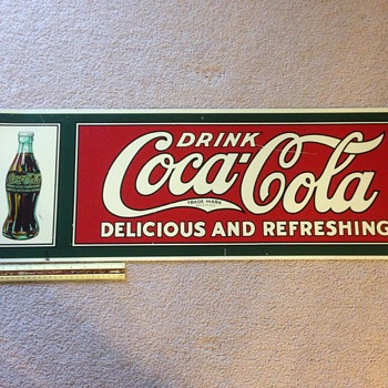 "Drink Coca Cola Delicious and Refreshing - 12""x36"" Coke Sign"