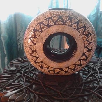 """Round hoop mosaic vase 14"""" diameter"""