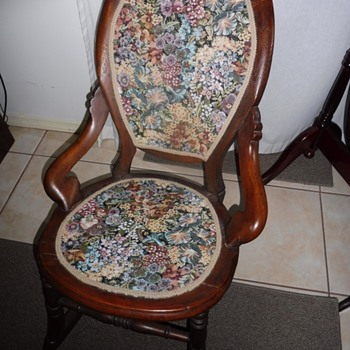 "antique rocking chair, stamped ""H. H  Gifford"""