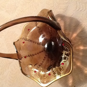 Glass handled basket painted gold interior with red stones - Art Glass