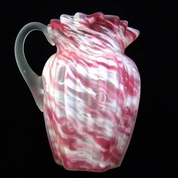 Scarce Northwood Ribbed Pillar in Pink Spatter & Satin Glass Creamer - Glassware